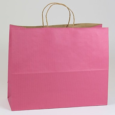 Shamrock 16in. x 6in. x 13in. Shadow Stripe Kraft Paper Jaguar Shopping Bags, Lipstick Pink
