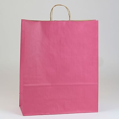 Shamrock 16in. x 6in. x 19 1/4in. Shadow Stripe Zebra Kraft Paper Shopping Bags, Lipstick Pink