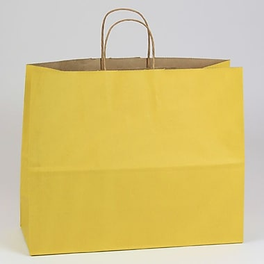Shamrock 16in. x 6in. x 13in. Shadow Stripe Kraft Paper Jaguar Shopping Bags, Mellow Yellow