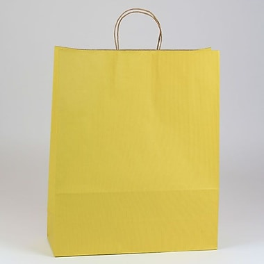 Shamrock 16in. x 6in. x 19 1/4in. Shadow Stripe Zebra Kraft Paper Shopping Bags, Mellow Yellow
