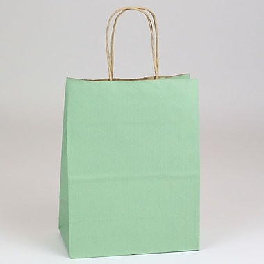 Shamrock 8in. x 4 3/4in. x 10 1/2in. Shadow Stripe Kraft Paper Chimp Shopping Bags, Sage Green