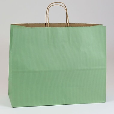 Shamrock 16in. x 6in. x 13in. Shadow Stripe Kraft Paper Jaguar Shopping Bags, Sage Green