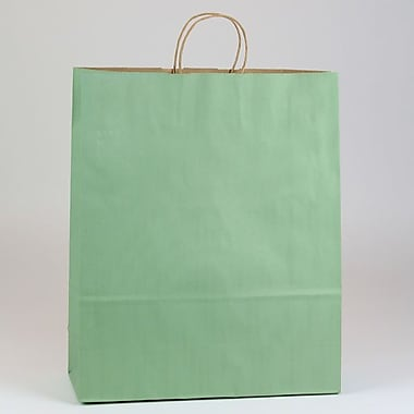 Shamrock 16in. x 6in. x 19 1/4in. Shadow Stripe Zebra Kraft Paper Shopping Bags, Sage Green