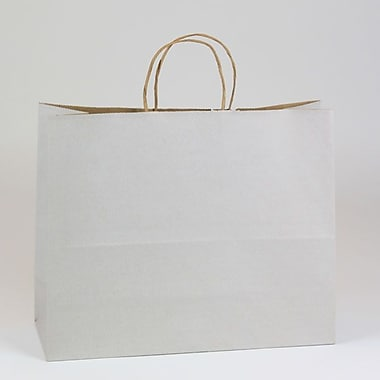Shamrock 16in. x 6in. x 13in. Shadow Stripe Kraft Paper Jaguar Shopping Bags, Picket Fence Gray
