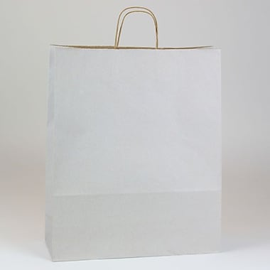 Shamrock 16in. x 6in. x 19 1/4in. Shadow Stripe Zebra Kraft Paper Shopping Bags, Picket Fence Gray