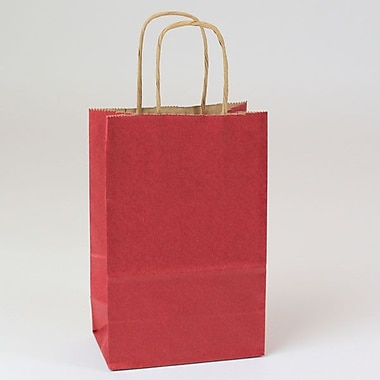 Shamrock 5 1/2in. x 3 1/4in. x 8 3/8in. Natural Smooth Paper Toucan Shopping Bags, Sangria Red