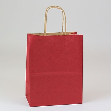 Shamrock 8in. x 4 3/4in. x 10 1/2in. Natural Smooth Paper Chimp Shopping Bags, Sangria Red