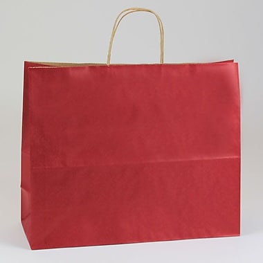 Shamrock 16in. x 6in. x 13in. Natural Smooth Paper Jaguar Shopping Bags, Sangria Red
