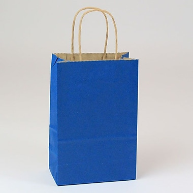Shamrock 5 1/2in. x 3 1/4in. x 8 3/8in. Natural Smooth Paper Toucan Shopping Bags, Pacific Blue