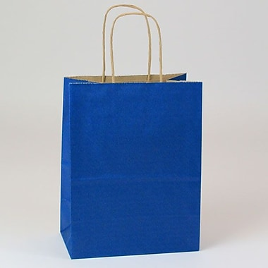 Shamrock 8in. x 4 3/4in. x 10 1/2in. Natural Smooth Paper Chimp Shopping Bags, Pacific Blue