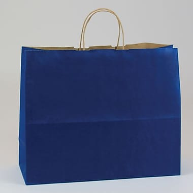 Shamrock 16in. x 6in. x 13in. Natural Smooth Paper Jaguar Shopping Bags, Pacific Blue