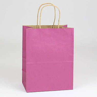 Shamrock 8in. x 4 3/4in. x 10 1/2in. Shadow Stripe Kraft Paper Chimp Shopping Bags, Boysenberry Pink