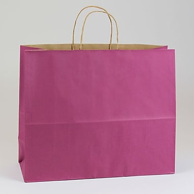 Shamrock 16in. x 6in. x 13in. Shadow Stripe Kraft Paper Jaguar Shopping Bags, Boysenberry Pink