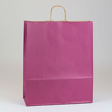 Shamrock 16in. x 6in. x 19 1/4in. Shadow Stripe Natural Kraft Paper Zebra Shopping Bags, Boysenberry Pink