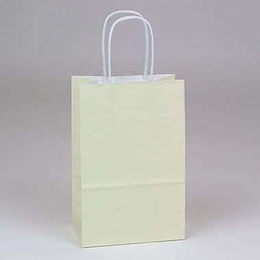 Shamrock 5 1/2in. x 3 1/4in. x 8 3/8in. White Smooth Paper Toucan Shopping Bags, Vanille Beige