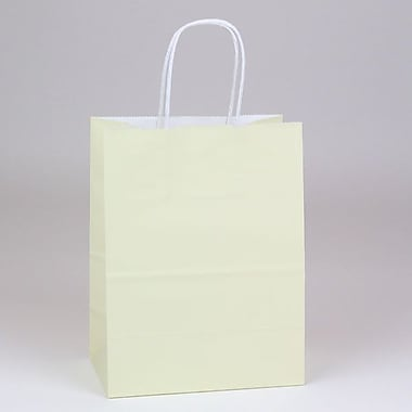 Shamrock 8in. x 4 3/4in. x 10 1/2in. White Smooth Paper Chimp Shopping Bags, Vanille Beige