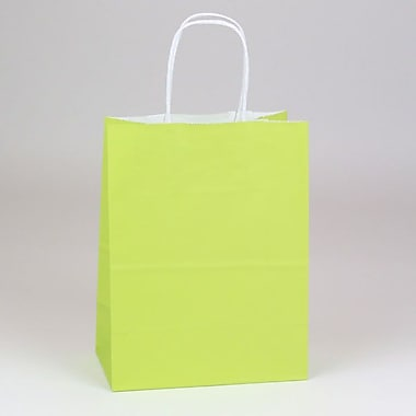 Shamrock 8in. x 4 3/4in. x 10 1/2in. White Smooth Paper Chimp Shopping Bags, Chartreuse