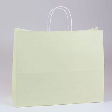 Shamrock 16in. x 6in. x 13in. White Smooth Paper Jaguar Shopping Bags, Vanille Beige