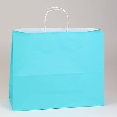 Shamrock 16in. x 6in. x 13in. White Smooth Paper Jaguar Shopping Bags, Ciel Blue