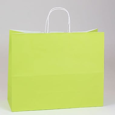 Shamrock 16in. x 6in. x 13in. White Smooth Paper Jaguar Shopping Bags, Chartreuse