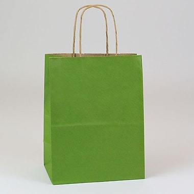 Shamrock 8in. x 4 3/4in. x 10 1/2in. Natural Smooth Paper Chimp Shopping Bags, Leaf Green