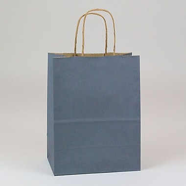 Shamrock 8in. x 4 3/4in. x 10 1/2in. Natural Smooth Paper Chimp Shopping Bags, Charcoal