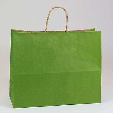 Shamrock 16in. x 6in. x 13in. Natural Smooth Paper Jaguar Shopping Bags, Leaf Green