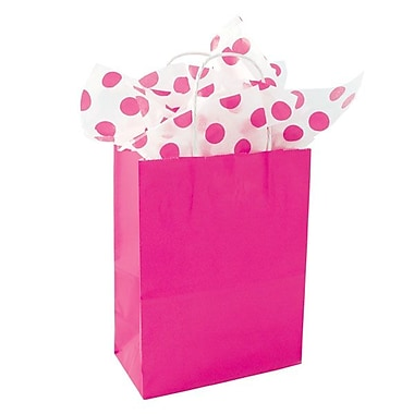 Shamrock 10 1/2in. x 8in. x 4 3/4in. Solid Paper Shopping Bags, Hot Pink