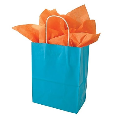 Shamrock 10 1/2in. x 8in. x 4 3/4in. Solid Paper Shopping Bags, Turquoise Blue