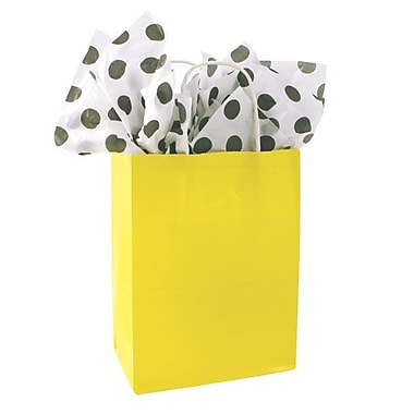 Shamrock 10 1/2in. x 8in. x 4 3/4in. Solid Paper Shopping Bags, Yellow