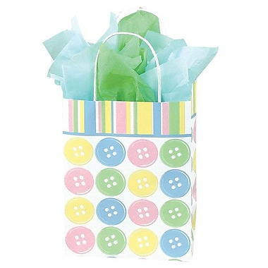 Shamrock 10 1/2in. x 8in. x 4 3/4in. Printed Paper Chimp Shopping Bags, Baby Buttons