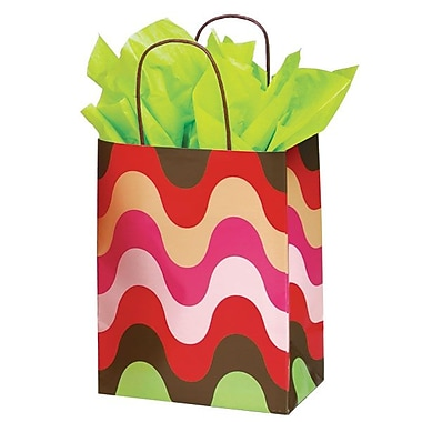 Shamrock 8in. x 4 3/4in. x 10 1/2in. Printed Paper Chimp Shopping Bags, Just Peachy