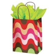 Shamrock 8 x 4 3/4 x 10 1/2 Printed Paper Chimp Shopping Bags, Just Peachy