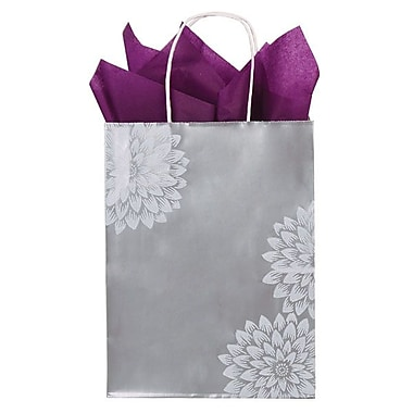 Shamrock 12 1/2in. x 3 1/4in. x 5 1/2in. Printed Paper Chimp Shopping Bags, Chrysanthemum