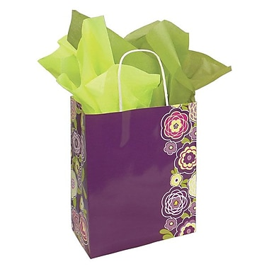Shamrock 12 1/2in. x 3 1/4in. x 5 1/2in. Printed Paper Chimp Shopping Bags, Lotus Flowers