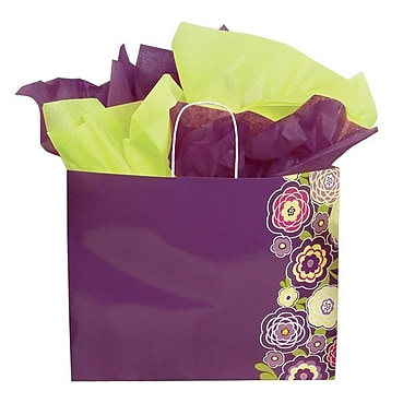 Shamrock 13in. x 6in. x 16in. Printed Paper Jaguar Shopping Bags, Lotus Flowers