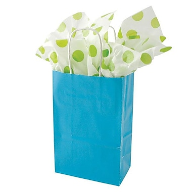 Shamrock 8 3/8in. x 5 1/2in. x 3 1/4in. Solid Paper Shopping Bags, Turquoise Blue