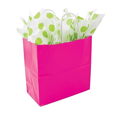 Shamrock 8in. x 8in. x 4in. Solid Paper Shopping Bags, Hot Pink