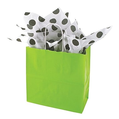 Shamrock 8in. x 8in. x 4in. Solid Paper Shopping Bags, Lime