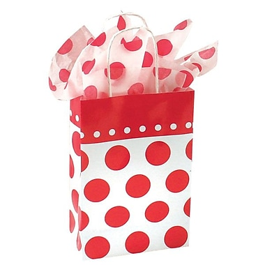 Shamrock 8 3/8in. x 5 1/2in. x 3 1/4in. Cherry Dots Printed Paper Toucan Shopping Bags, Red on White
