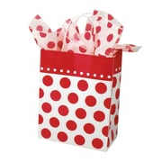 Shamrock 10 1/2 x 8 x 4 3/4 Cherry Dots Printed Paper Chimp Shopping Bags, Red on White