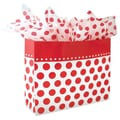 Shamrock 13in. x 6in. x 16in. Cherry Dots Printed Paper Jaguar Shopping Bags, Red on White