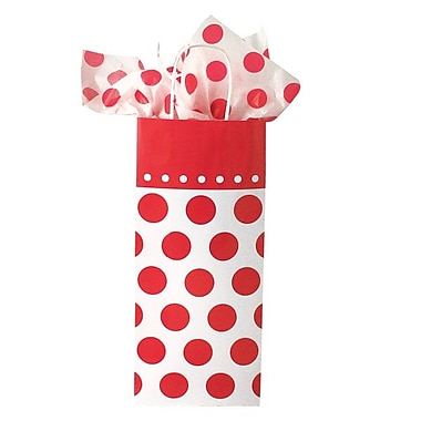 Shamrock 5 1/2in. x 3 1/4in. x 12 1/2in. Bistro 2 go Cherry Dots Single Bottle Shopping Bags, Red on White