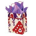 Shamrock 12 1/2in. x 3 1/4in. x 5 1/2in. Printed Paper Chimp Shopping Bags, Ikat