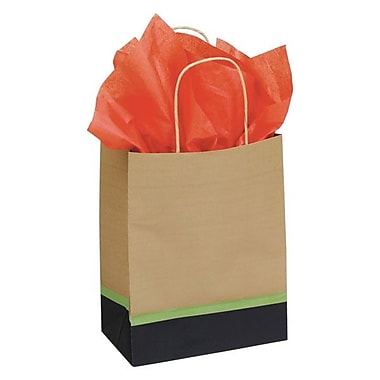 Shamrock 8in. x 4 3/4in. x 10 1/2in. Printed Paper Chimp Shopping Bags, Modern/Kraft