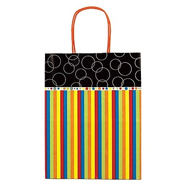 Shamrock 8in. x 4 3/4in. x 10 1/2in. Printed Paper Chimp Shopping Bags, Bubbles and Stripes