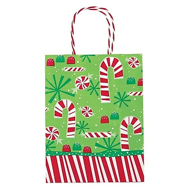 Shamrock 8in. x 4 3/4in. x 10 1/2in. Printed Paper Chimp Shopping Bags, Contempo Canes