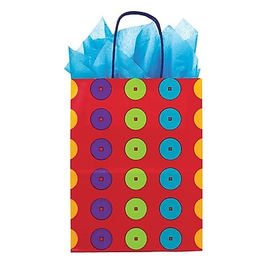 Shamrock 8in. x 4 3/4in. x 10 1/2in. Printed Paper Chimp Shopping Bags, Carousel Dots