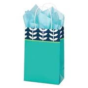 Shamrock 5 1/2 x 3 1/4 x 8 3/8 Printed Paper Toucan Shopping Bags, Leaf Silhouette