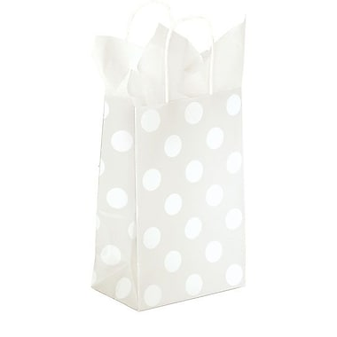 Shamrock 5 1/2in. x 3 1/4in. x 8 3/8in. Printed Paper Toucan Shopping Bags, Polka Dot Pearl